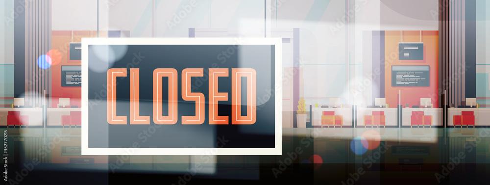 Fototapeta sorry we are closed sign hanging outside business office store shop or restaurant coronavirus pandemic quarantine bankruptcy commerce crisis concept horizontal vector illustration