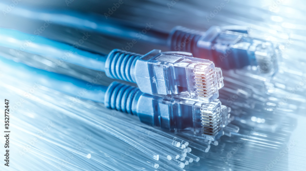 Fototapeta Ethernet cable lan internet wire data connection. Networking and communication