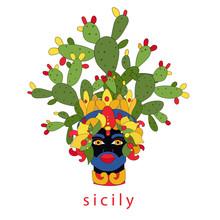 Sicilian Planter Head With Moor And Prickly Pear. Moorish. Italy, Sicily. Vector Illustration Of Sicilian Symbol, Souvenir. Postcard, Print Design