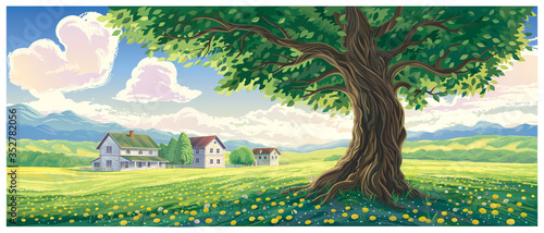 Summer rural landscape with houses and an old tree in the foreground