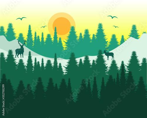 Fototapety, obrazy: Forest Sunrise Snow Mountain