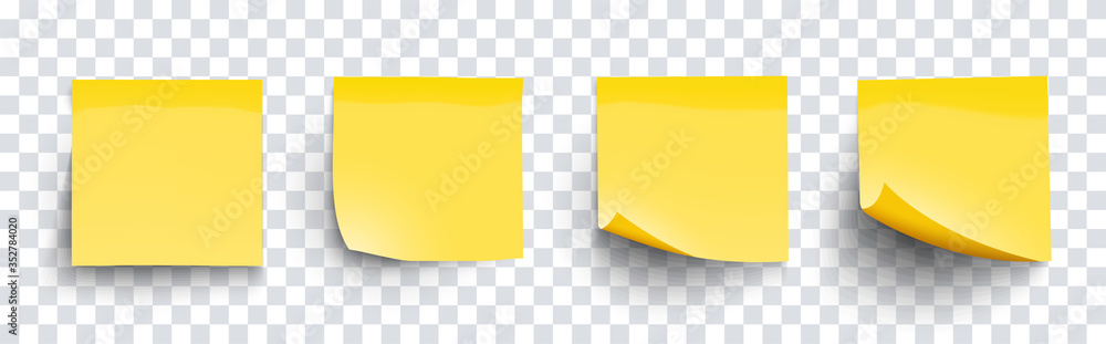 Fototapeta Realistic set sticky note yellow colors isolated on transparent background. Mockup blank yellow sticky notes with shadow for your design. Vector illustration EPS10