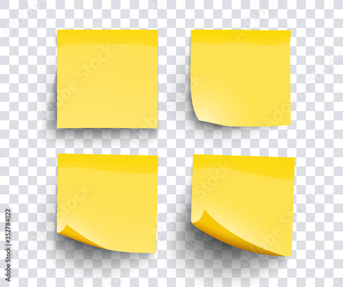Realistic set sticky note yellow colors isolated on transparent background Fototapeta
