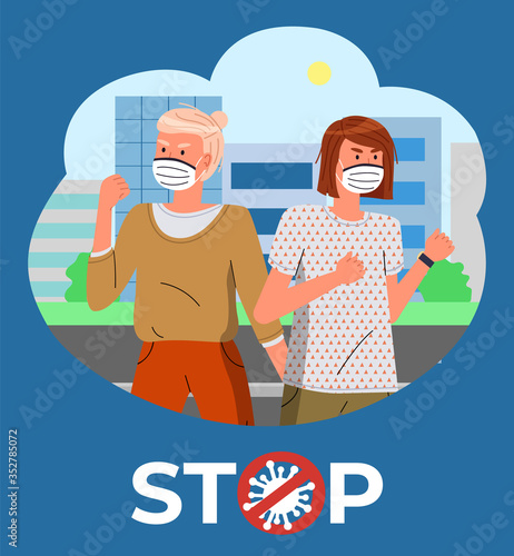 Two girls in face medical masks at background of modern city Canvas Print