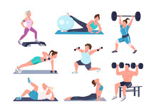 Working Out People Flat Color Vector Faceless Characters Set. Different Physical Exercises Isolated Cartoon Illustrations On White Background. Fitness At Home. Bodybuilding, Yoga And Pilates