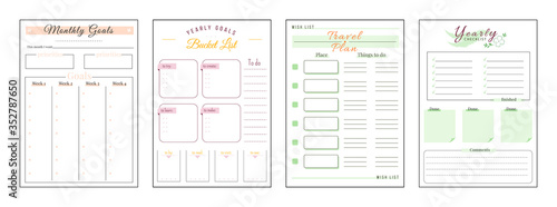 Obraz Goals and wishes minimalist planner page set. Monthly priorities. Habit track weekly. Travel and trip plan. Bucket list personal organizer printable sheet layout. Vertical insert for diary - fototapety do salonu