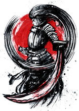A Surly Samurai In Full Gear, With Long Oxen Describing A Perfect Circle Around Him, Menacingly Holds A Bloodied Sword, Standing Proudly Against The Red Sun.