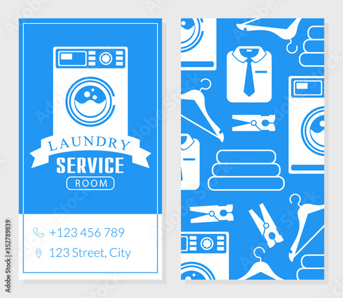 Платно Laundry Service Business Card Template, Two Sides of Invitation Card Vector Illu