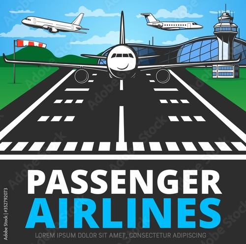 Runway with landing plane vector poster Wallpaper Mural