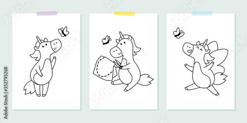 Obraz Vector set with cute unicorns with butterfly in the childish style. Vector illustration for coloring book. Outline black and white picture for children. - fototapety do salonu