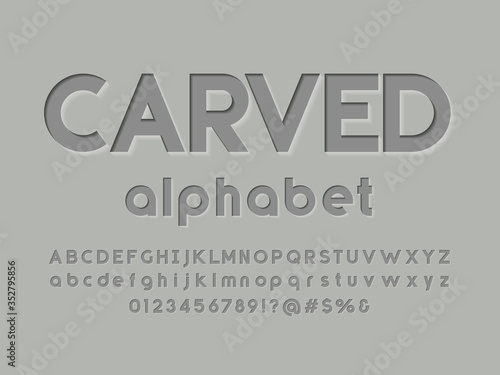 Modern embossed alphabet design with uppercase,lowercase, numbers and symbols Slika na platnu