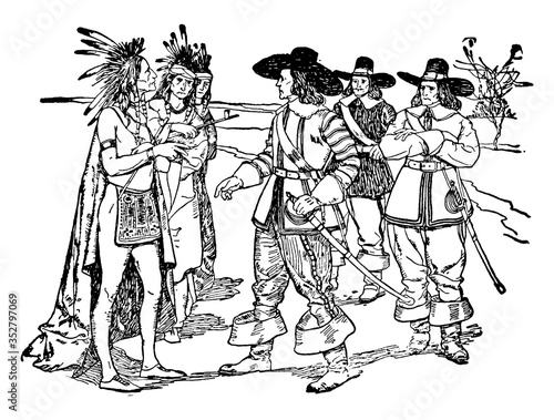 Fototapeta European settlers, vintage illustration.