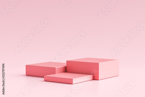 Obraz Pink product display or showcase pedestal on simple background with cube stand concept. Pink studio podium or platform product template. 3D rendering. - fototapety do salonu