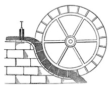 Water Wheel, Vintage Illustration.