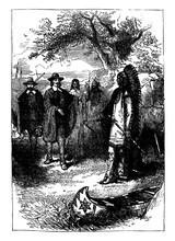 Pilgrim And Native American, Vintage Illustration.
