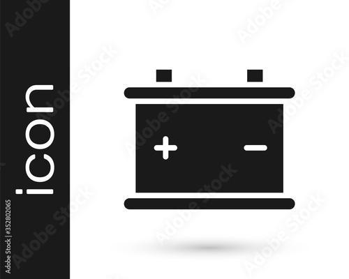 Photo Grey Car battery icon isolated on white background