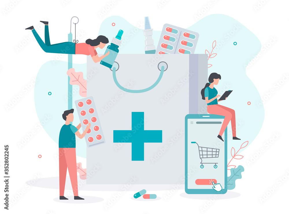 Fototapeta Order medicines online through the pharmacy app. Home delivery drugs. Medical concept. Flat vector illustration.