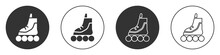 Black Roller Skate Icon Isolated On White Background. Circle Button. Vector Illustration