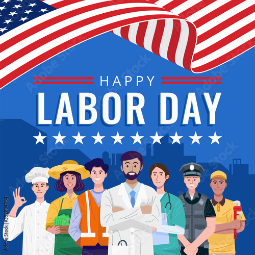 Obraz Happy Labor Day. Various occupations people standing with American flag. Vector - fototapety do salonu