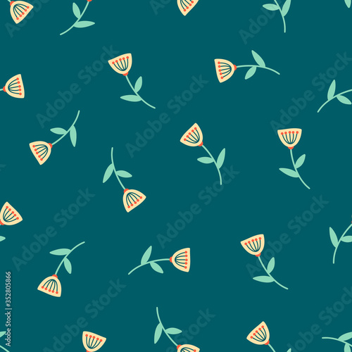 simple floral pattern on dark blue green background Billede på lærred