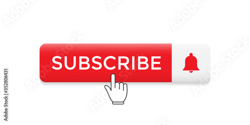 Subscribe Button Icon Vector with Hand Cursor Slika na platnu