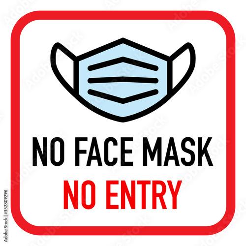 No facemask No entry sign Canvas Print