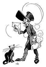 Cartoon Of Man, Cat And Tea Ke...