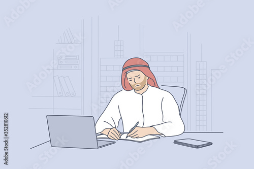 Arab man working in office concept Wallpaper Mural