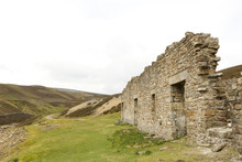 Lead Mine Ruins  In The Yorkshire Dales, U.K. With Storm Sky In The Back Ground