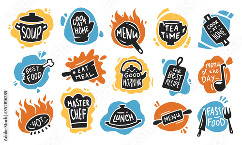 Obraz Food typography flat icon set. Graphic chalk logo, emblems and badges for recipe, menu, bar, bistro or cafe isolated vector illustration collection. Kitchen and restaurant concept - fototapety do salonu