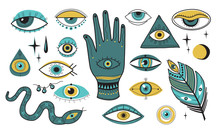 Evil Eye Set. Mascots, Ornamental Beads, Tribal Symbols, Snake, Eyeball, Hand. Flat Vector Illustrations For Greek Culture, Religion, Sacred Esoteric Elements Concept