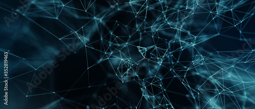 Fotografía Abstract futuristic - technology with polygonal shapes on dark blue background