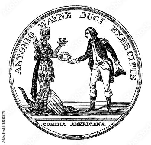 Photo General Anthony Wayne's Gold Medal (Front), vintage illustration.