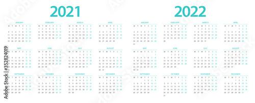 Calendar 2021, calendar 2022 week start Monday corporate design planner template Canvas Print