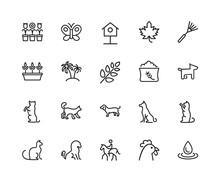 Animals And Plants Icon Set. C...