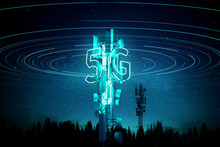 5G Mobile Signal Communication Mast (cell Tower) Super Fast Data Streaming Concept. 3D Illustration.