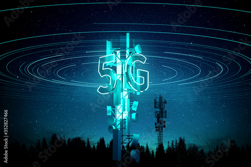 5G mobile signal Communication Mast (cell tower) Super fast data streaming concept Fototapeta