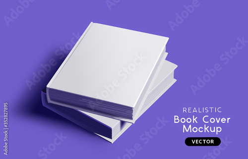 Obraz na plátně Blank book cover mockup design layout with shadows for branding