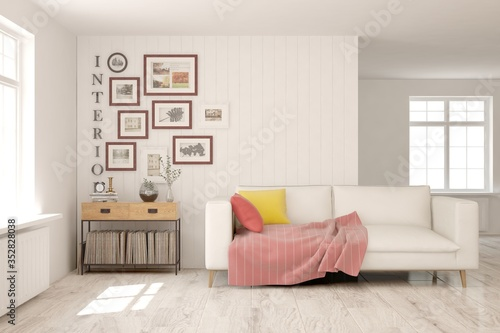 Obraz White living room with sofa. Scandinavian interior design. 3D illustration - fototapety do salonu