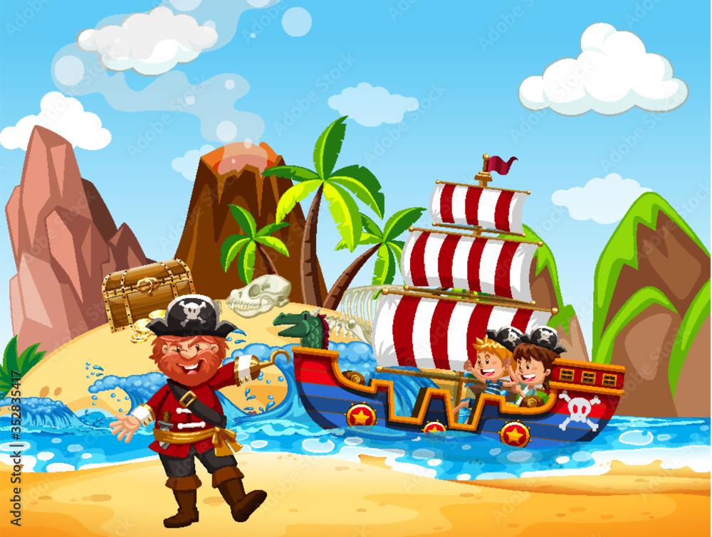 Fototapeta Scene with pirate and viking ship at sea