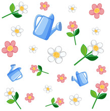 Set Of Cute Pink Flowers Water...