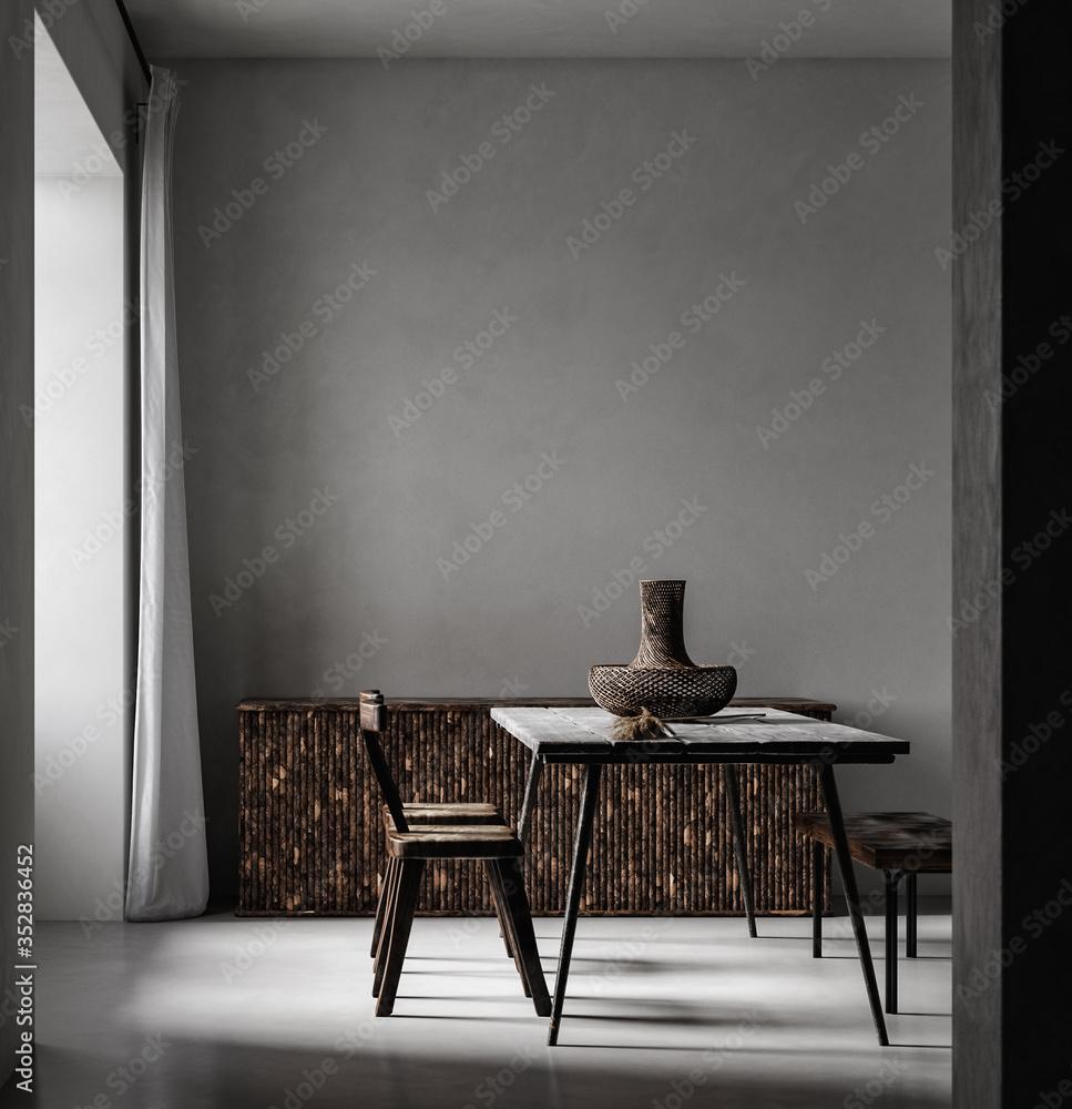 Fototapeta Simple minimal Nomadic style interior,  3d render