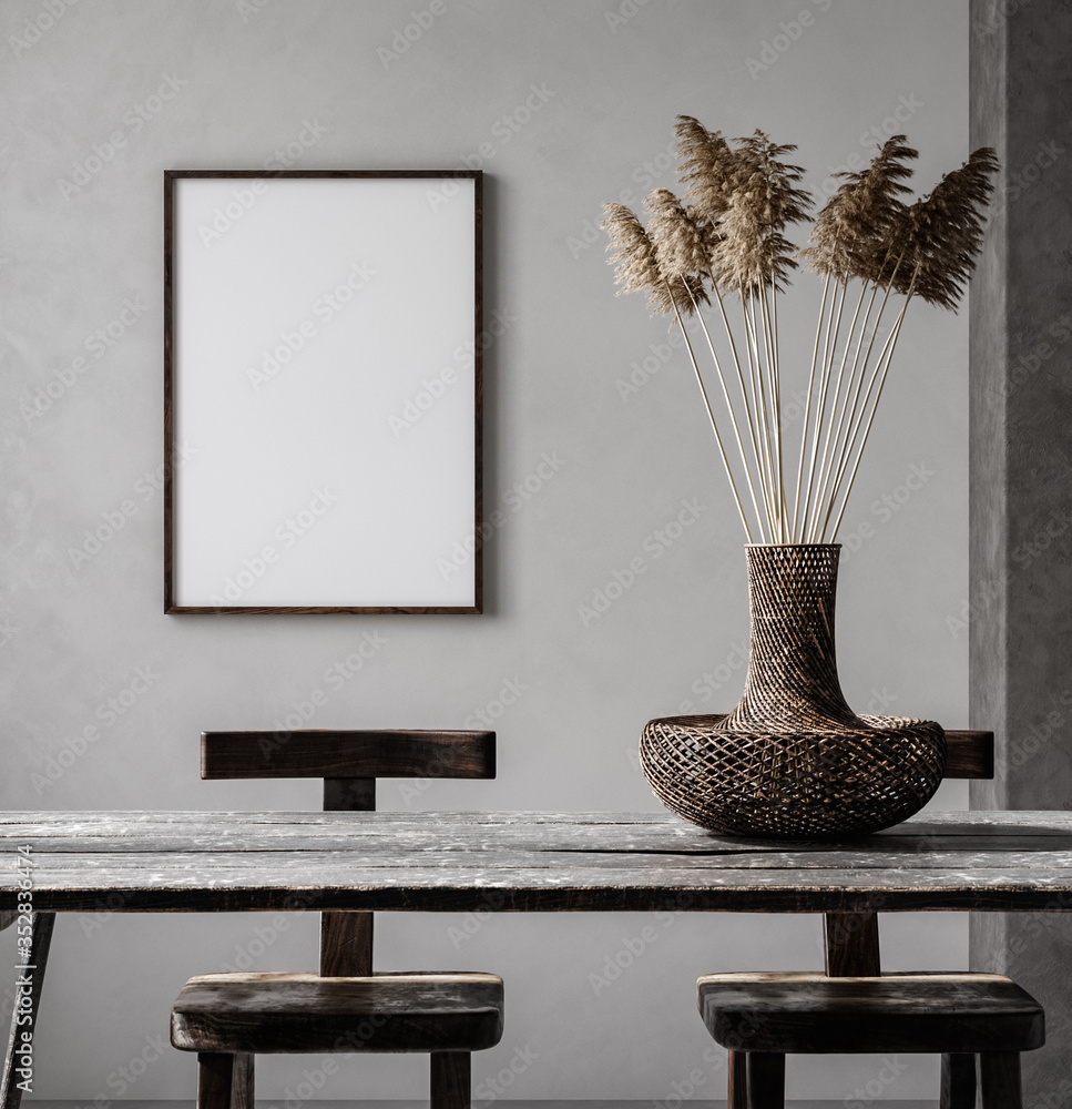 Fototapeta Mockup frame in Nomadic style interior background, 3d render