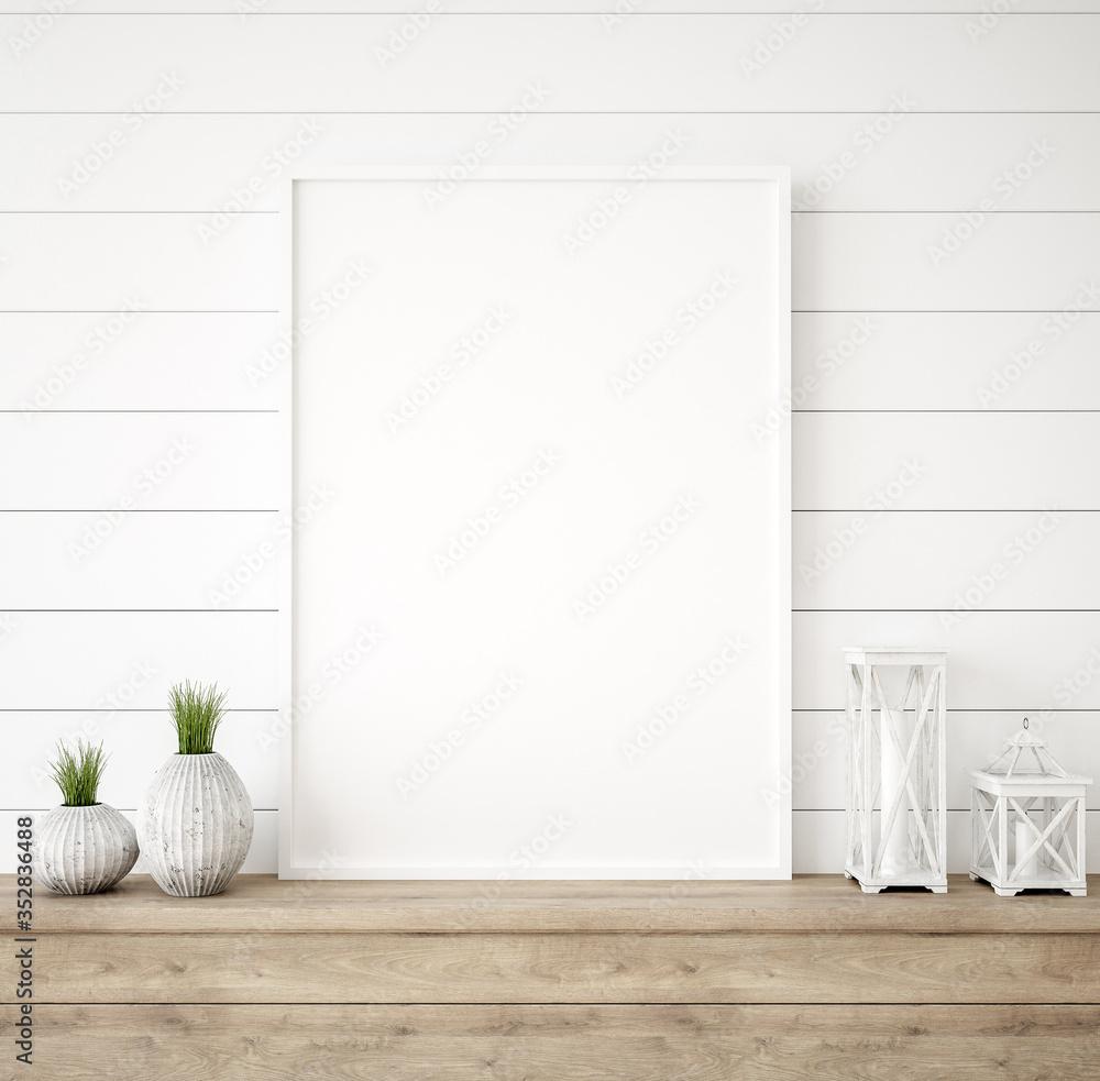 Fototapeta Mockup frame in farmhouse living room interior, 3d render