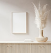 canvas print picture - Mock up poster close up in interior background with pampas grass in wicker vase, 3d render