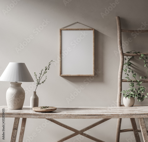 Obraz Mockup frame in Nomadic style interior background, 3d render - fototapety do salonu
