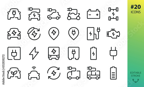 Obraz Electric car outline vector icon. Set of e car, electric bus, truck, vehicle, auto, charge station parking, engine, plug, battery, eco transport, autopilot, smart car isolated editable stroke icon - fototapety do salonu