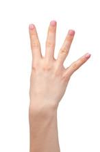 Female Hand Showing Four Finge...