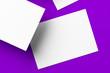 Leinwanddruck Bild - Blank white businesscards on purple background, copy space