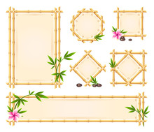 Bamboo Sticks Frames With Paper, Canvas Set. Banners Vertical, Horizontal, Square, Round Tropical.